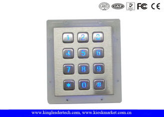 Panel Mount Numeric Backlit Metal Keypad With 12 Illuminated Keys For Access Control System