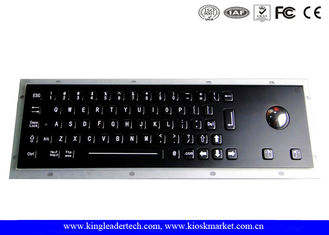 Black Industrial Keyboard With Optical Trackball In Full Travel Keys At IP65 Rating